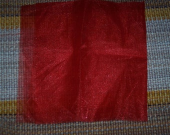 Sheer red fabric remnant,shimmery,sheer,18 inch square,destash,basket liner,sachet packets,crafts