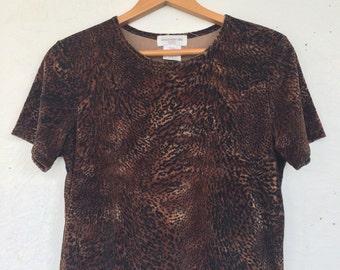 Velvet leopard print t-shirt