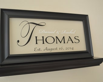 "Anniversary Gift, Personalized Family Name Sign Picture Frame Wall Sign - 11"" x 21"""