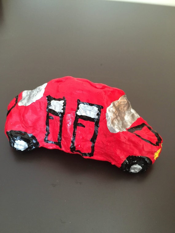 Red Car Painted Rock