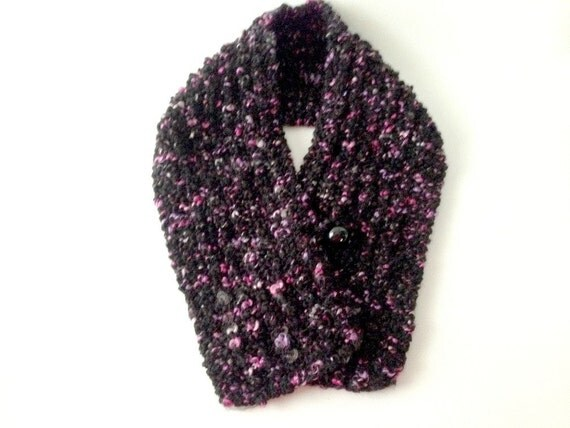 Black Knitted Scarf, Hand Knitted Scarf, Black and Pink, Black Cowl, Chunky Scarf
