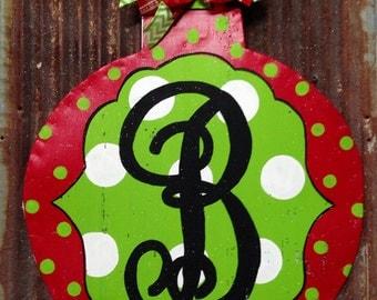 Monogrammed Christmas Ball Door Hanger