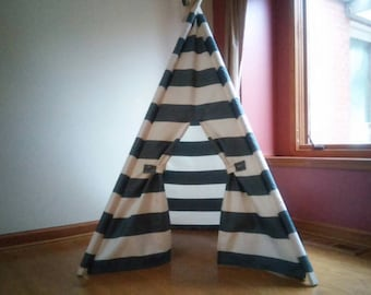 Charcoal Gray and Off white Teepee Tent Play Tent theteepeeguy  Gray stripe tent