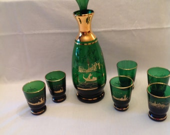 Price Reduced Wine Decanter & 6 Glasses Green Glass Trimmed in Gold Gilt with Scenes from Venice