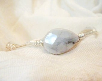 White Howlite Semi-Precious Gemstone On Wire Wrapped Bangle -  Teardrop Faceted Stone On Silver Non-Tarnish Wire