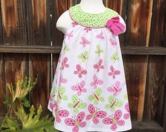 Rare Too Girl Dress Pink Green Butterflys Sz 4T Flowers Bow