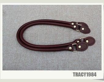 1 pair Full Grain Leather Bag Handles in Wine Color
