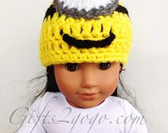 """Minion Hat - Crochet Hat - Hats - Doll's Crochet Hat - 18"""" doll's hat"""