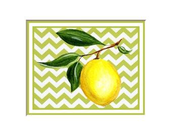 Lemon print, lemon picture, lemon art prints, fruit art, botanical prints, yellow and white kitchen, kitchen decor,  chevron,  8x10 print