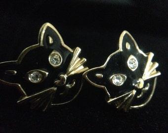 Vintage Cat Face Earrings (ABX1E)