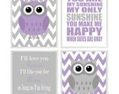 Girl Nursery Art, Owl Nursery, Owl Wall Art, Lavender Gray Nursery, You Are My Sunshine Art, I'll Love You Forever Quote, Baby Girl Nursery