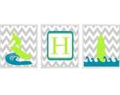 Surf Wall Art, Boy Room Decor, Surf Nursery Prints, Gray Chevron, Blue Green Decor, Boy Surf Art, Personalized Print, Initial Art, Surfer