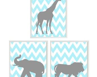 Nursery Art, Baby Boy Nursery, Elephant Giraffe Lion, Aqua Gray Decor, Chevron Print, Safari Wall Art, Boy Room Decor, Modern Nursery, Boy