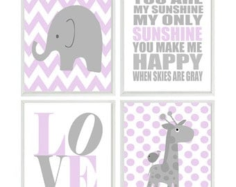 Girl Nursery Art, Elephant Nursery, Giraffe Wall Art, Lavender Gray Nursery, You Are My Sunshine Art, LOVE Art Print, Baby Girl Nursery