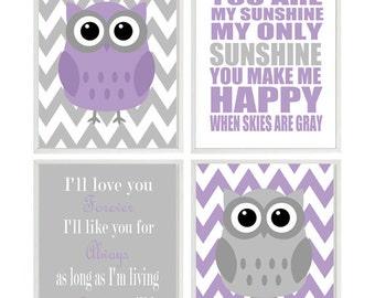 Girl Nursery Art, Owl Nursery, Owl Wall Art, Lavender Gray Nursery, You Are My Sunshine Art, I'll Love You Forever Quote, Baby Girl Nursery