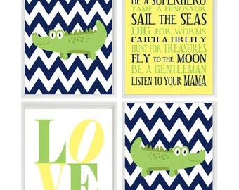 Alligator Nursery Wall Art, Baby Boy Room Decor, Navy Blue Green Yellow, Love Print, Boy Rules Quote, Chevron Alligator Wall Art, Boy Prints
