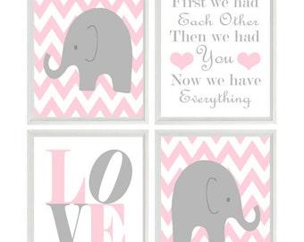 Baby Girl Nursery, Elephant Nursery Wall Art, Pink Gray Decor, Chevron Elephant, First We Had Each Other, Love Print, Baby Girl Gift, Quote