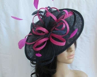 Black & Fuschia Fascinator..Stunning shaped Sinamay Fascinator Hat on a Headband