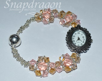 Beaded crystal strap watch