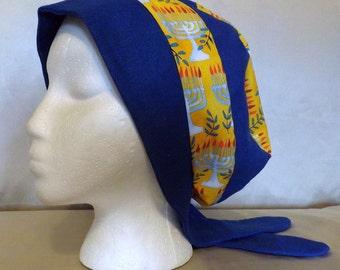 302 Hanukkiah Gold Cotton with Royal Blue Linen Head Cover Snood Scarf Cap
