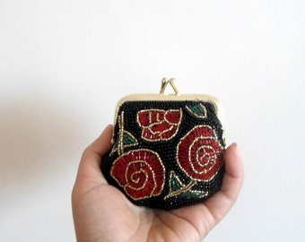 Vintage inspared coin purse,  beaded coin purse handmade, rosary holder, Black coin purse, beaded coin purse, oak gift, ooak gift, unique