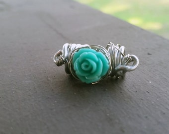 Dread Bead - Aluminum Spiral with Teal Rose, Heatherfish Creations