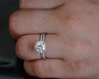 7mm band halo diamond wedding ring
