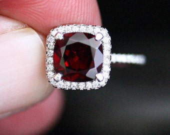 Red Garnet Engagement Ring Garnet Halo Ring in 14k White Gold with Cushion 8mm and Diamond Halo (Also Available in Rose Gold)