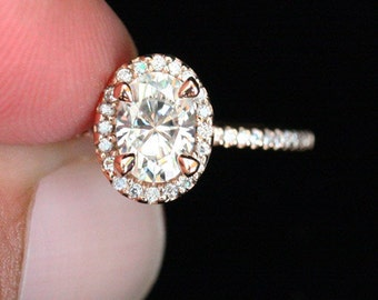 Oval Moissanite Ring Diamond Engagement Ring 14k Rose Gold with Forever Classic Moissanite 7x5mm and Diamond Ring (Available in 18k Gold)