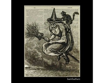 Wicked Witch Halloween - Vintage Dictionary Art Print - Book Page Art - Holiday Decor No. P369