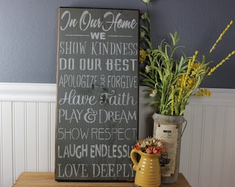 wooden sign, in our home,family rules, love deeply, laugh endlessly, subway art, wall hanging, wall decor
