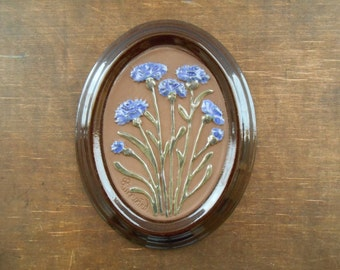 Ceramic wall plaque by Gabriel Sweden Brown blue wall picture Ceramic floral wall hanging