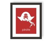 Pirate Hat Art -  Kids Pirate Decor, Modern Kid Art, Playroom Print, Child Room Decor, Pirate Baby, Toddler Art, Nursery Wall Art