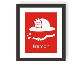 Fireman Hat Print, Fireman Nursery, Firefighter Helmet, Child Room Decor, Fire Fighter Decor, Kids Playroom, Boys Bedroom Art, Kids Wall Art