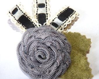 Handmade Grey  Zip Rose Brooch