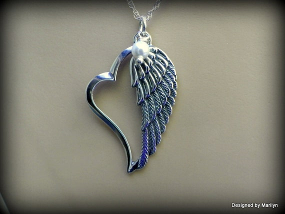 Sterling Silver Angel Wing Necklace Heart Necklace Memorial