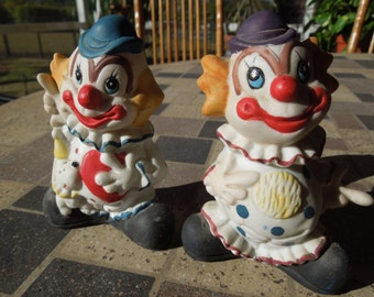 Vintage Norcrest Clown Figurines, Pair Of.  4 Inches Tall and in Nice Condition
