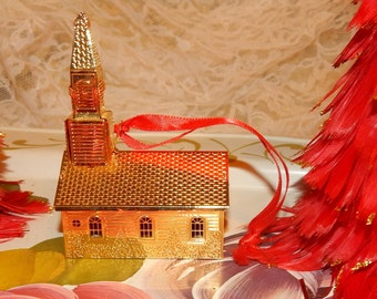 Towle Gold Plated Church with Pierced and Embossed  Metal Work 3D Christmas Ornament