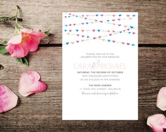 Wedding Invite – Heart Buntings Printable Wedding Invitation Suite