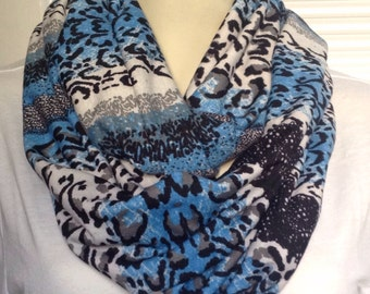 Blue, black and white animal print scarf, Soft and fun infinity scarf, blue, black and white animal print, lace print