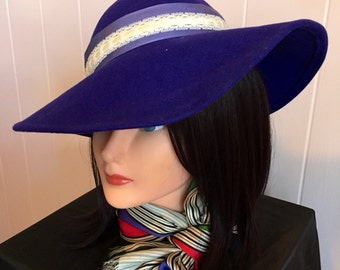 Vintage Midnight Blue Picture Hat with Cream Lace Accents!