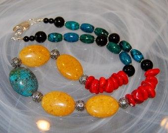 Boho Southwest Gemstone Necklace, Jade, Kiwi Turquoise, Coral, Azurite Chrysocolla, Agate