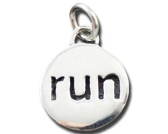 Sterling Silver Run Charm, Small Pendant for a Necklace, Unique Runners Marathon Jewelry, Simple Stamped Charm Jewelry for Runners