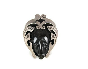 Vintage Brooch Silver and Carved Black Obsidian Tribal Mayan Mask