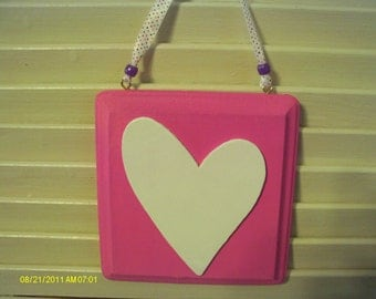 Valentine Heart Square Wall Hanging Bright Pink