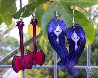 Marceline Vampire Queen Adventure Time Cartoon Red Bass Axe Guitar Metal Geeky  Earrings