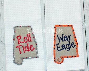 Alabama or Auburn Kitchen Towels- Shabby State Applique