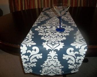 Navy and white table runner
