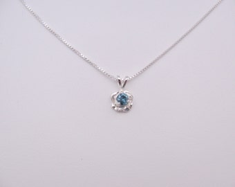 Blue Diamond Pendant in 925 Sterling silver Necklace with chain