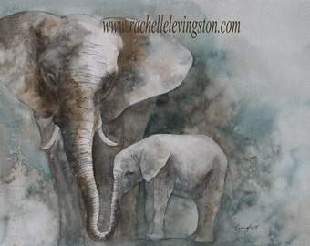 watercolor painting of elephant painting art Print elephant art PRINT elephant PRINT elephant animal Wall decor nursery art home decor 11x14